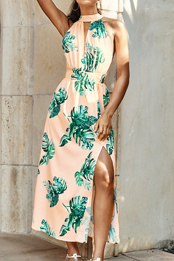 Pink Palm Print Halter Midi Dress
