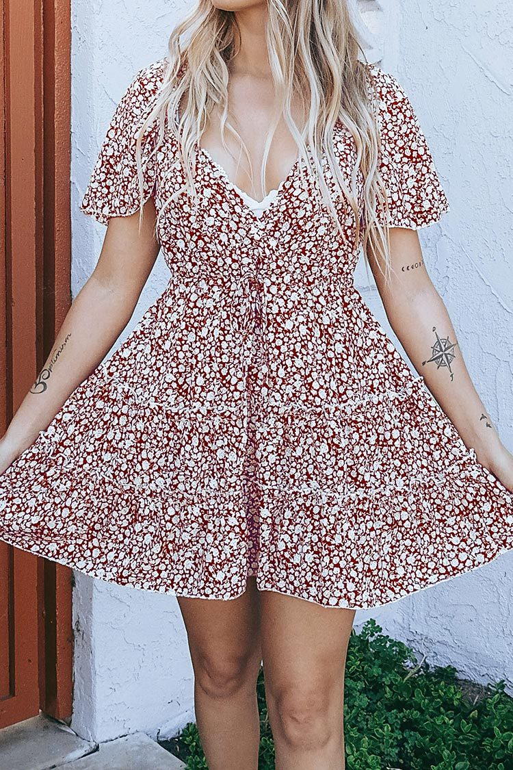 Red and White Ditsy Floral Dress
