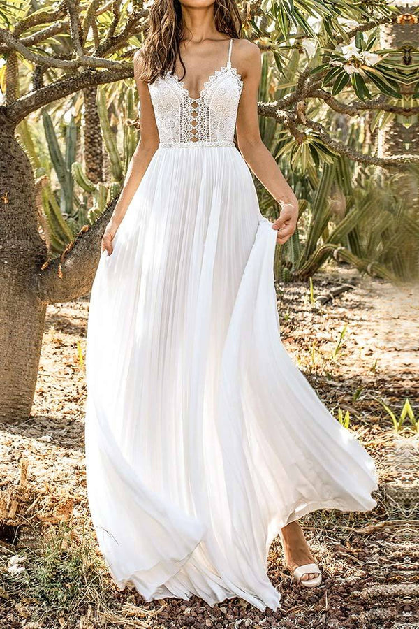 White Backless Lace Maxi Dress