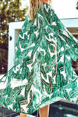 Sheer Leafy Print Cover Up