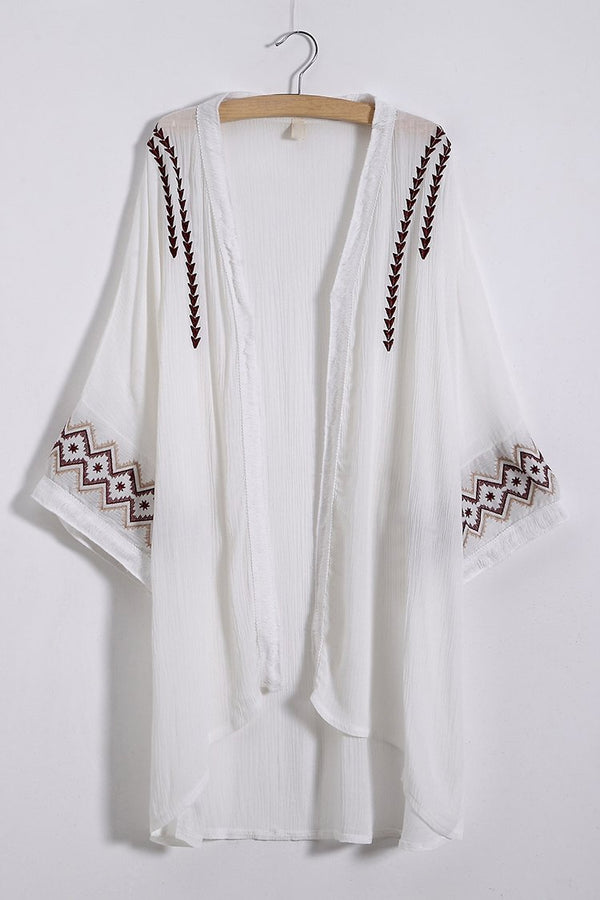 White Simple Pattern Embroidered Cover Up