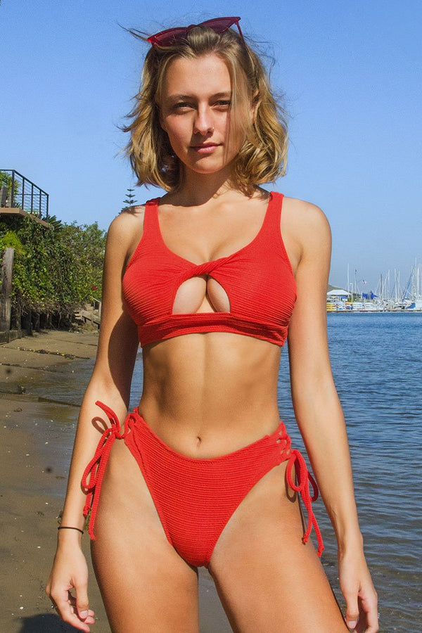 Stylish Red Lace Upe Bikini