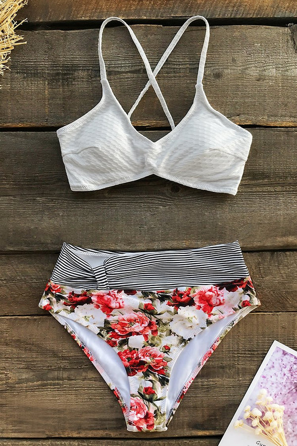 Textured Stripe and Floral Bikini