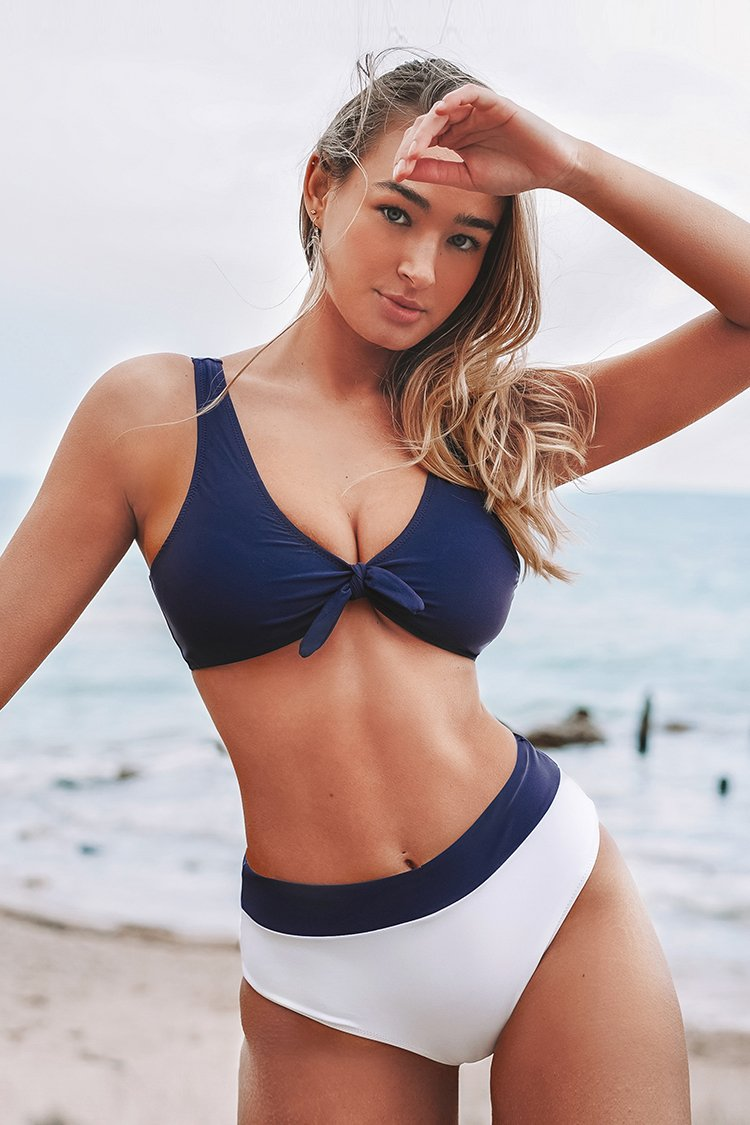 Blue Front Bowknot High-Waisted Bikini