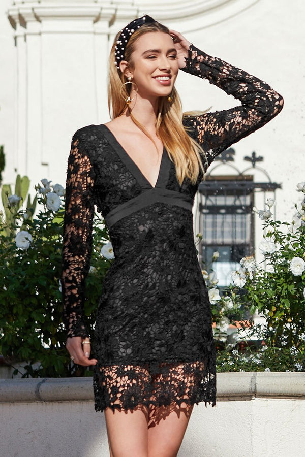 Black Lace Overlay V-Neck Bodycon Dress