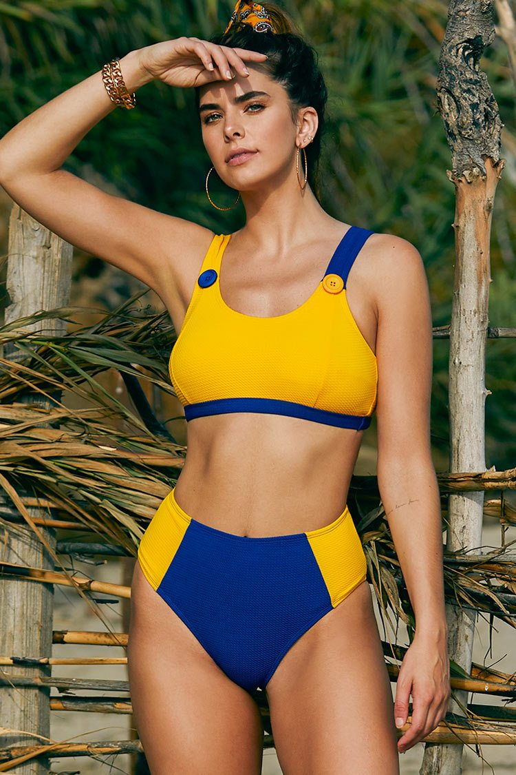 Sporty Yellow and Blue High Waisted Bikini