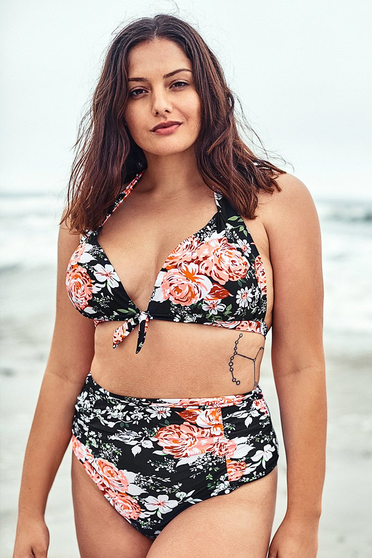 Floral Print Lace Up Halter Plus Size Bikini