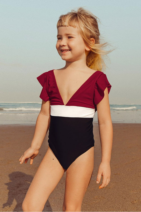 Colorblock Ruffled One-Piece Swimsuit For Toddler Girls and Girls