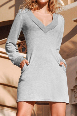 Gray V-neck Long Sleeve Short Dress