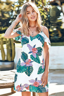 Floral and Leafy Cold Shoulder Dress