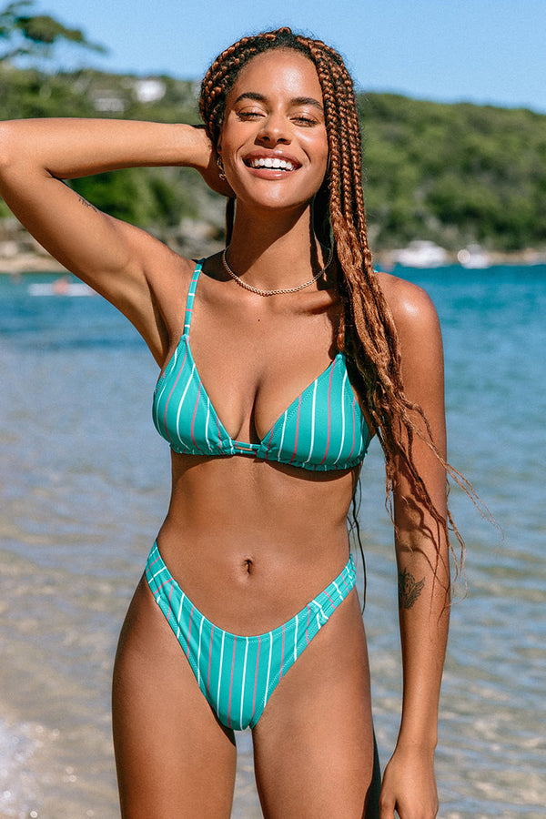 Blue Striped Triangle Low Rise Bikini
