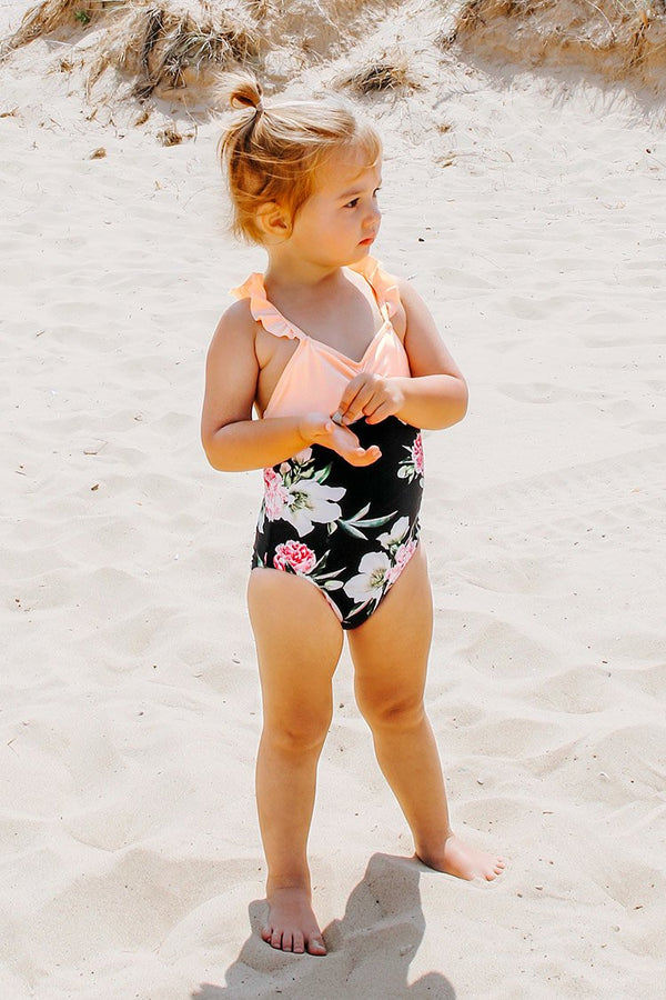 Sweet Floral One-Piece Swimsuit For Toddler Girls and Girls