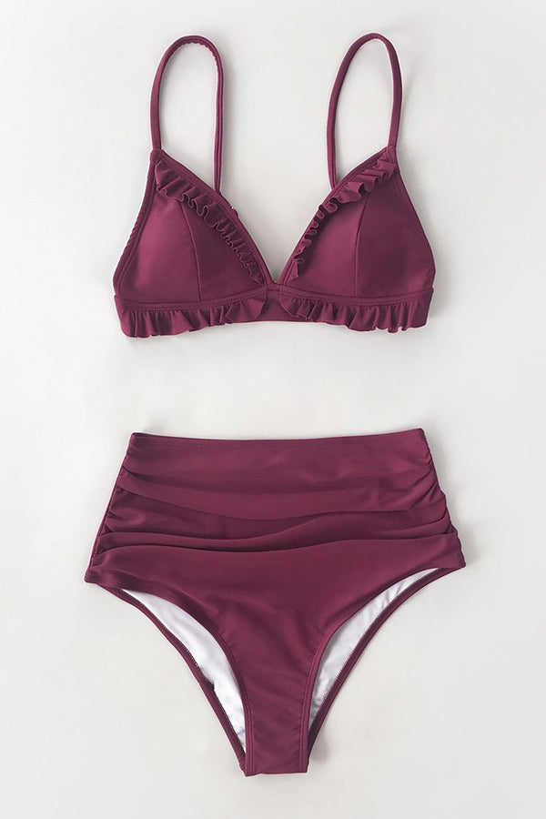 Burgundy Ruffled High Waisted Bikini