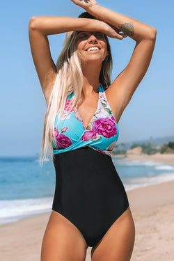 Floral and Black Halter One-Piece Swimsuit