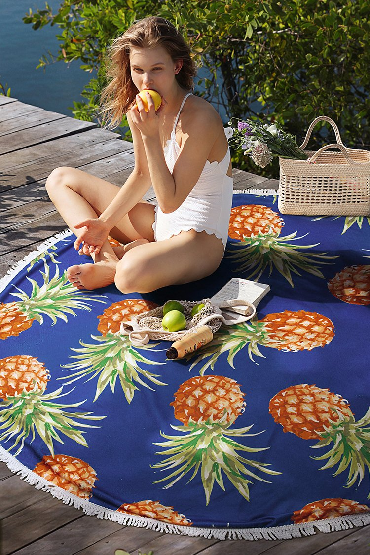 Cute Pineapple Round Beach Towel