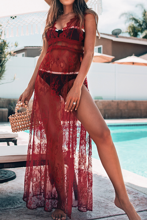 Sheer Red Lace Maxi Dress