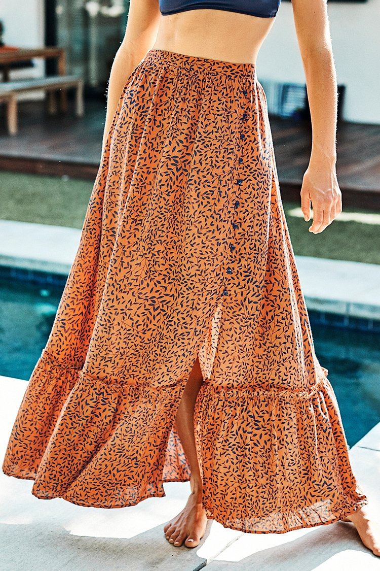 Gold and Navy Leaf Print Buttoned Maxi Skirt