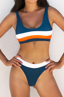 Blue White and Orange Sporty Bikini