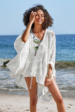 Creamy Lace Up Cover Up
