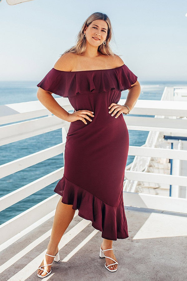 Red Off The Shoulder Plus Size Dress