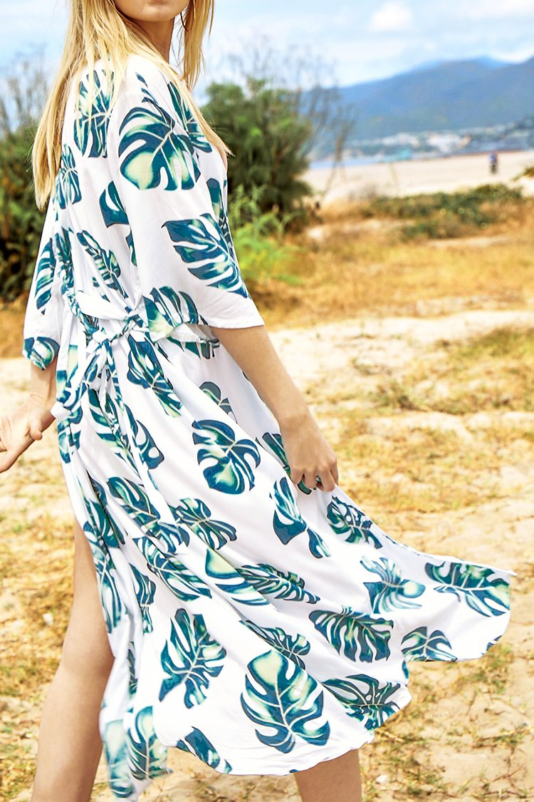 White Leafy Print Cover Up with Belt