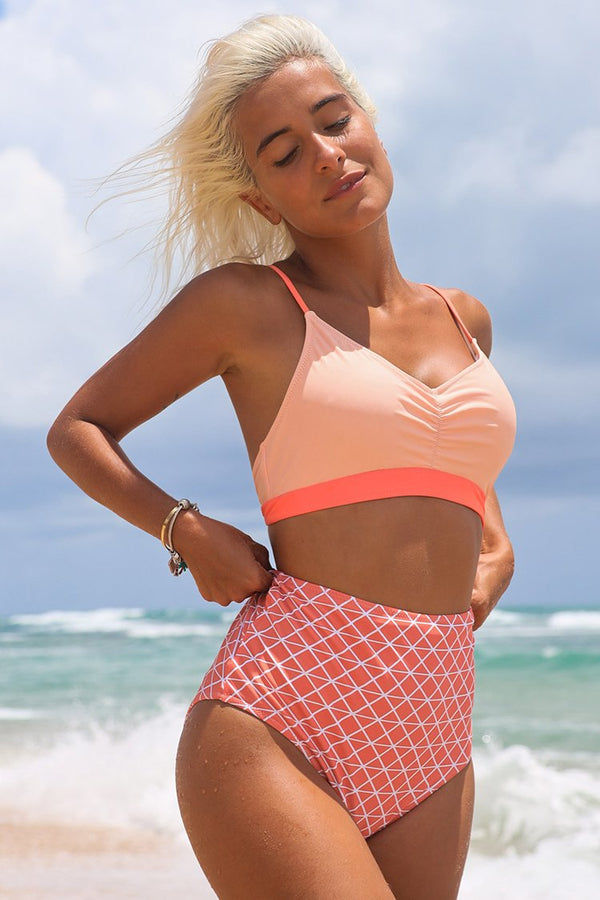 Pink Geometric Print High-Waisted Bikini