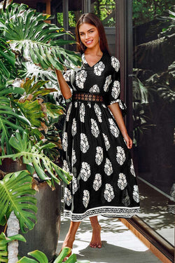 Black Leafy Lace Maxi Dress