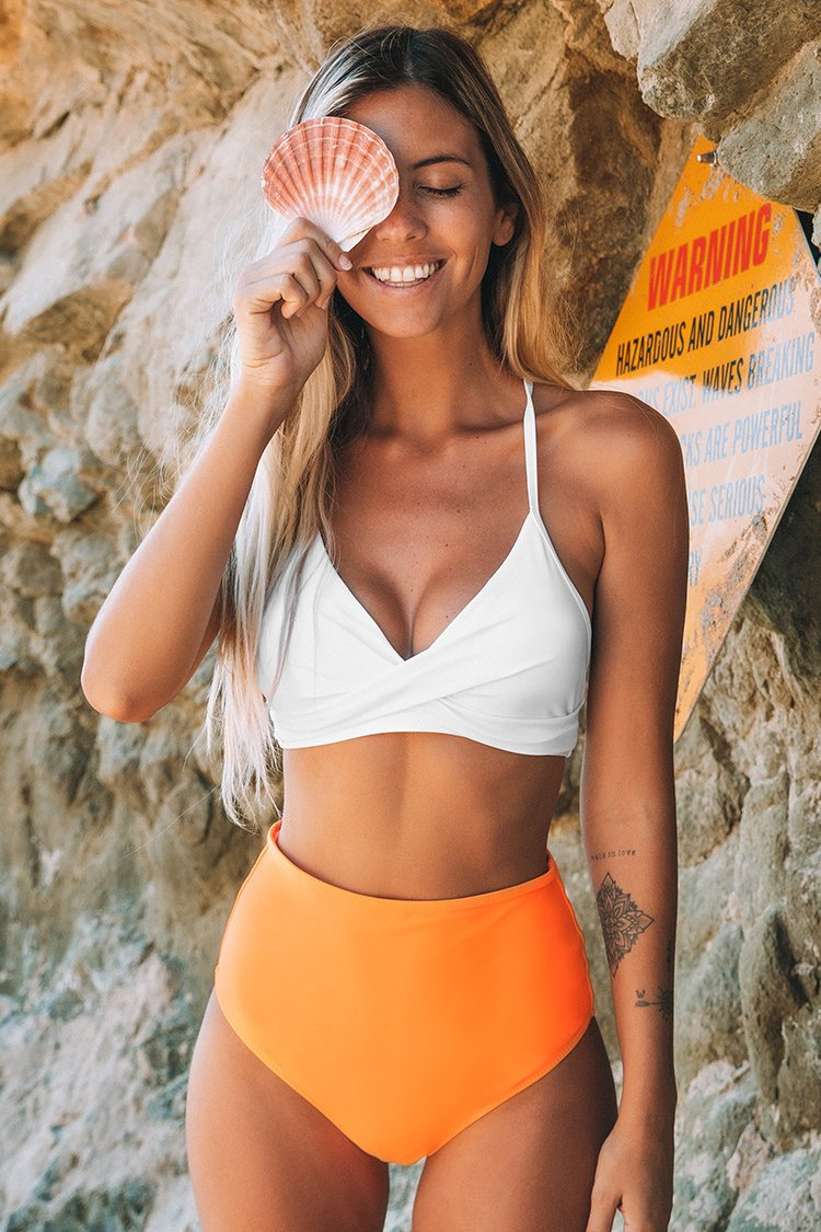 Solid White Bikini with Orange High-Waisted Bottom