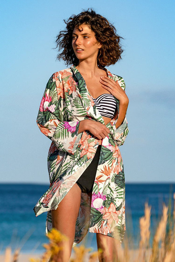 Tropical Floral Short Cover Up