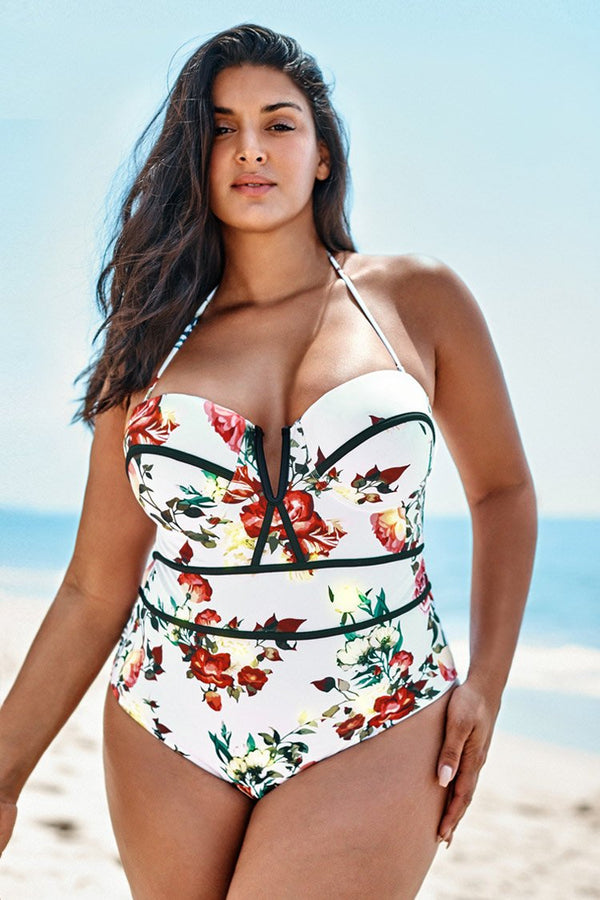 Romantic Floral V-Wire One-Piece Swimsuit