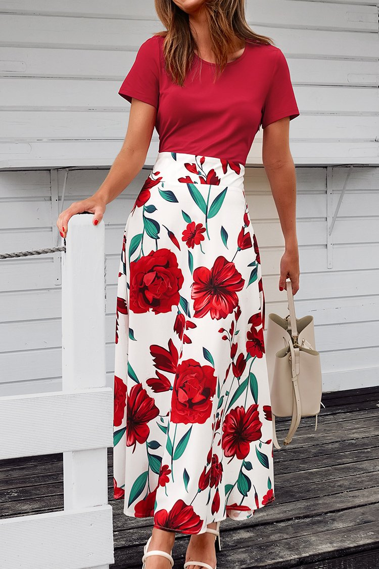 Red Floral Print Maxi Dress