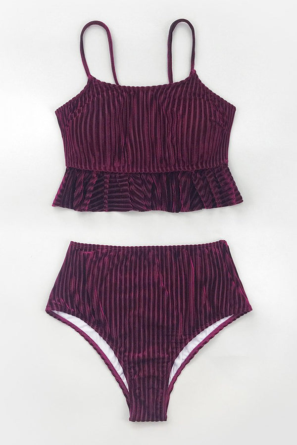 Velvet Ruffled High Waisted Bikini