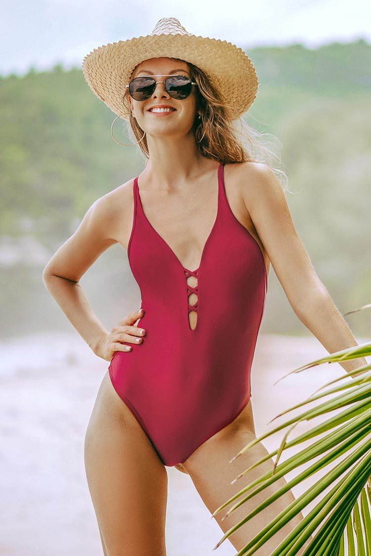Wine Red Strappy One-Piece Swimsuit