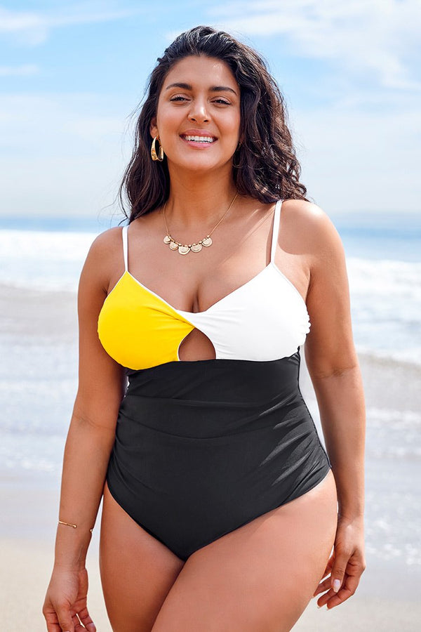 Yellow White and Black Plus Size One Piece Swimsuit