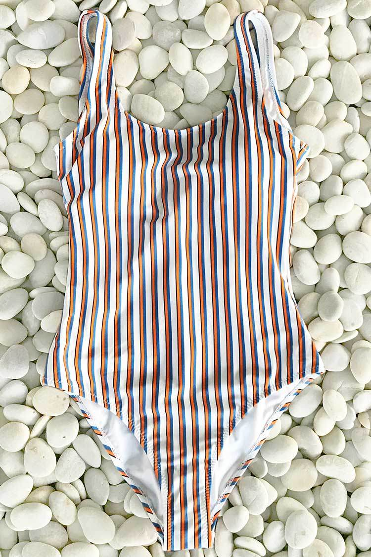 Follow My Heart Stripe One-piece Swimsuit