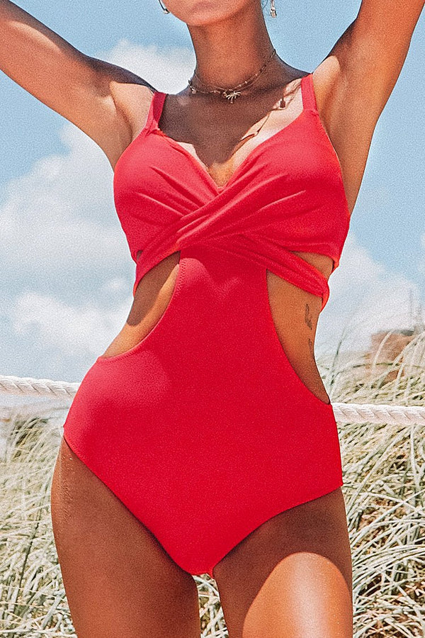 Red Cutout One-Piece Swimsuit with Molded Cups
