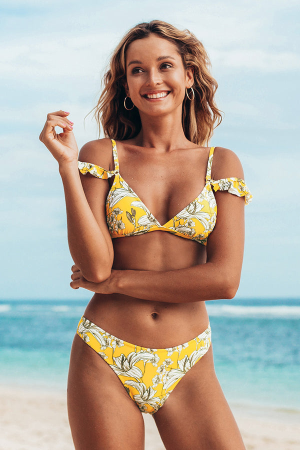 Yellow Floral Ruffled Shoulder Low Rise Bikini
