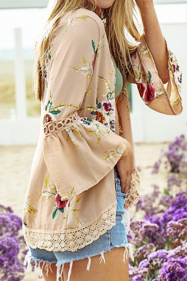 Horn Sleeve Floral Print Cover Up