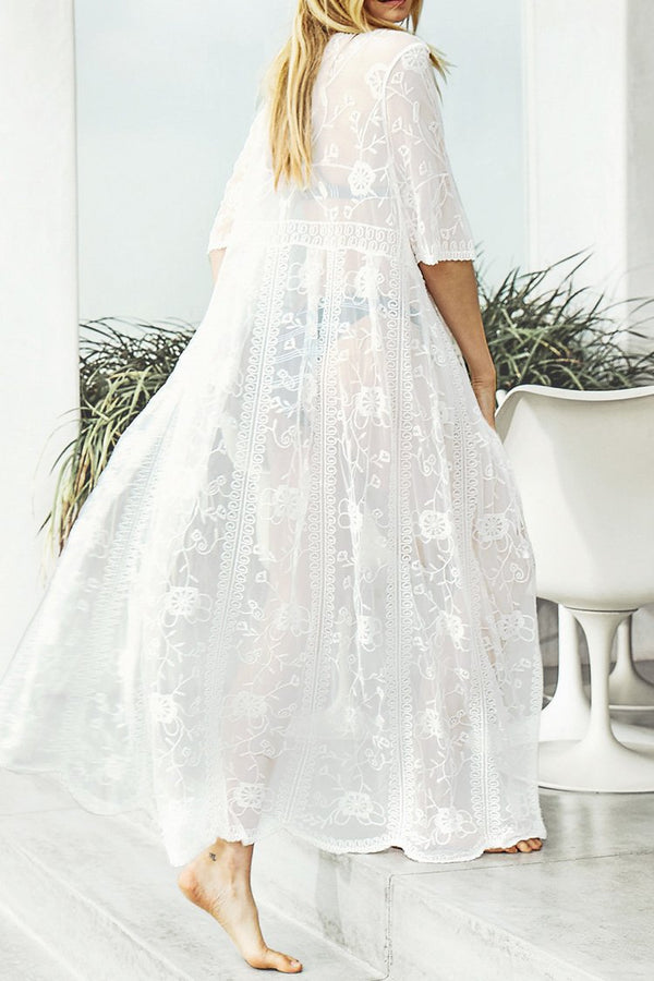 White Lace Floral Long Cover Up