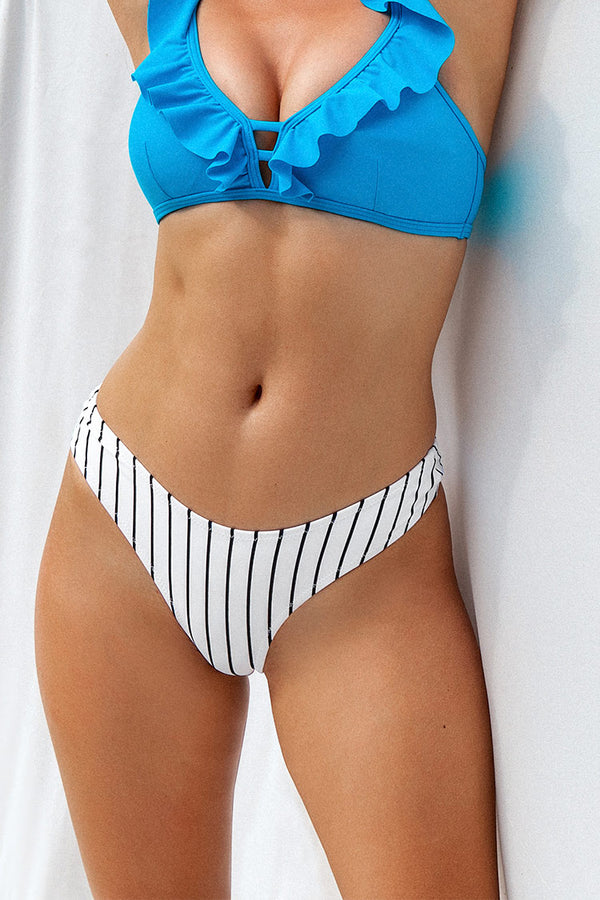 White Striped Low Waisted Bikini Bottom