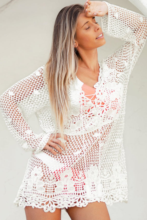 White Crochet Long Sleeve Cover Up