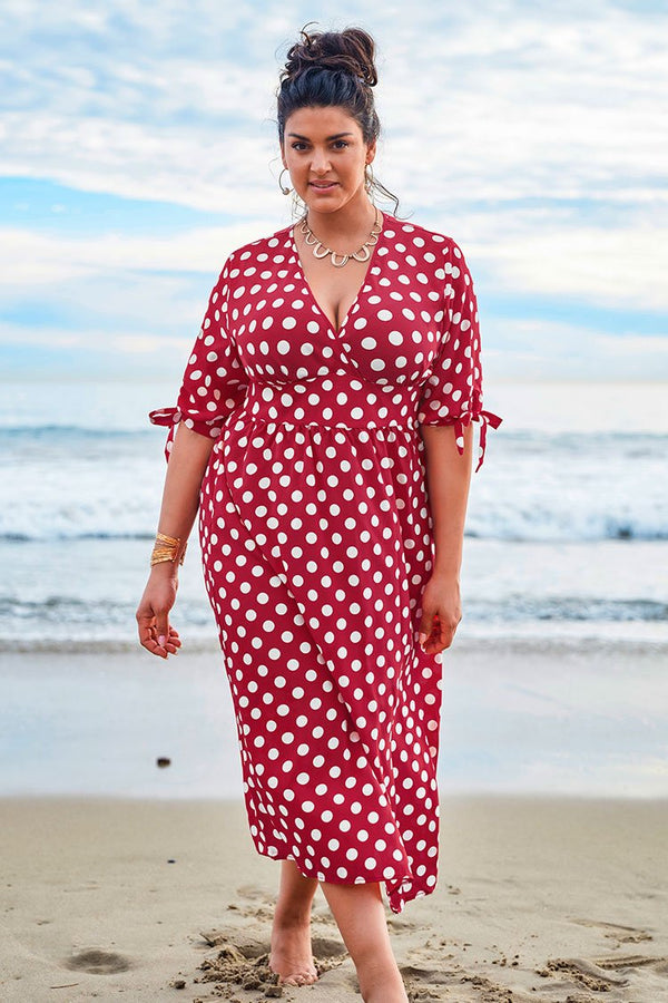 Red and White Polka Dot Plus Size Dress