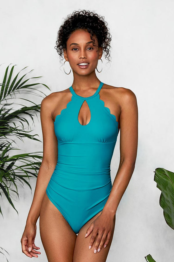 Blue High Neck Scalloped Swimsuit