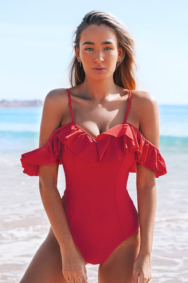 Red Off-The-Shoulder Ruffles One-Piece Swimsuit