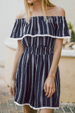 Navy Print Off-The-Shoulder Romper