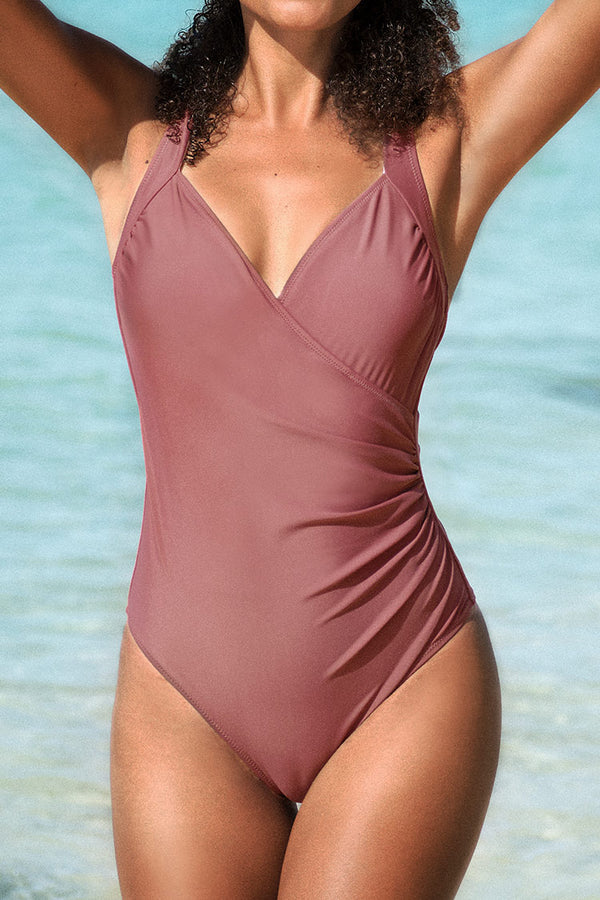 Light Coral Wrap One-Piece Swimsuit
