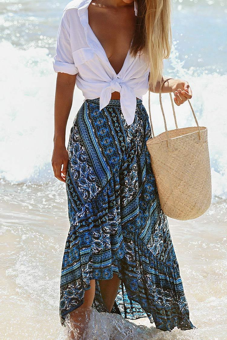 Blue Boho Ruffled Maxi Skirt