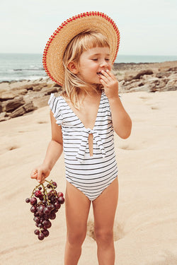 Stripe Knotted One-Piece Swimsuit For Toddler Girls and Girls