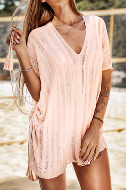 Pink Crochet Tassels Cover Up