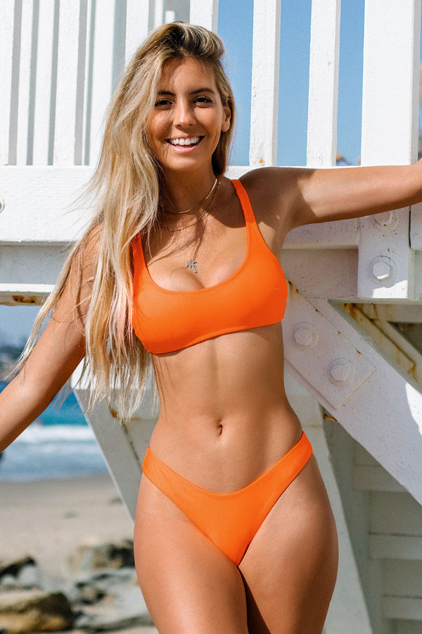 Neon Orange Strappy Tank Bikini